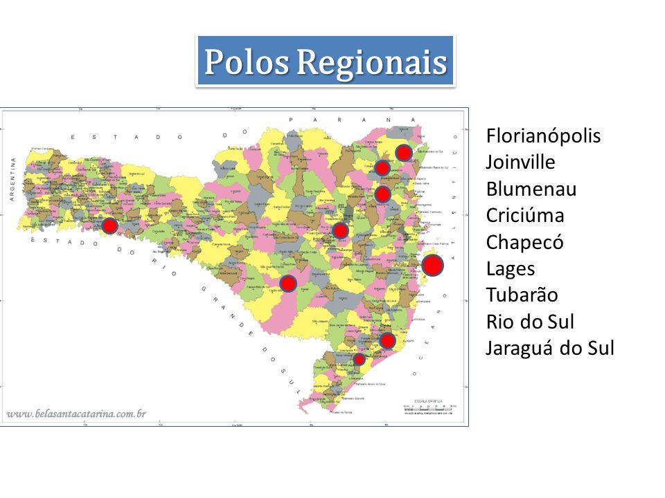 Polos Regionais Florianópolis Joinville Blumenau Criciúma Chapecó Lages Tubarão Rio do Sul Jaraguá do Sul