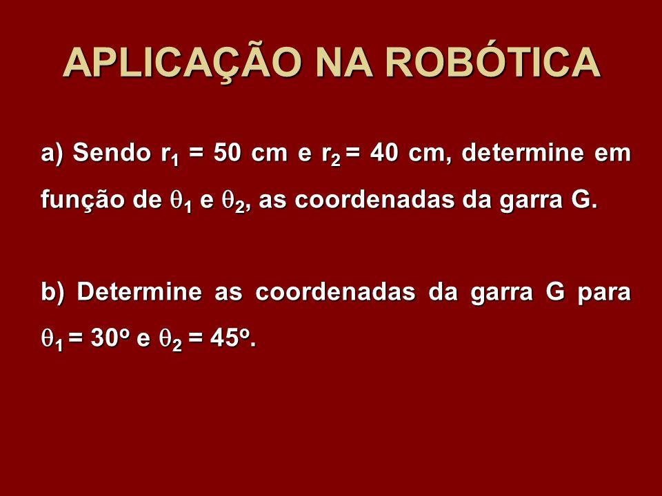 APLICAÇÃO NA ROBÓTICA a) Sendo r 1 = 50 cm e r 2 = 40 cm, determine em função de 1 e 2, as coordenadas da garra G. b) Determine as coordenadas da garr