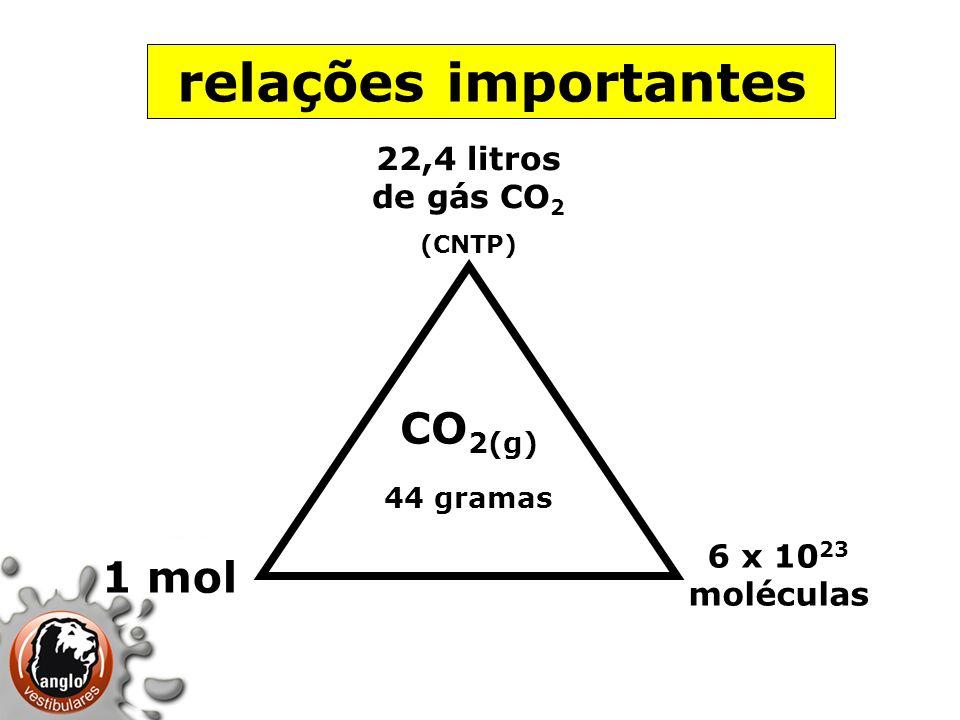 relações importantes CO 2(g) 44 gramas 1 mol 6 x 10 23 moléculas 22,4 litros de gás CO 2 (CNTP)