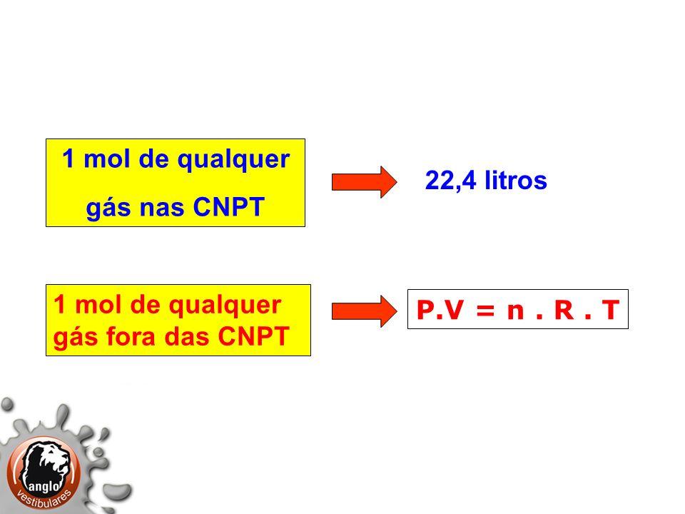 1 mol de qualquer gás nas CNPT P.V = n. R. T 1 mol de qualquer gás fora das CNPT 22,4 litros