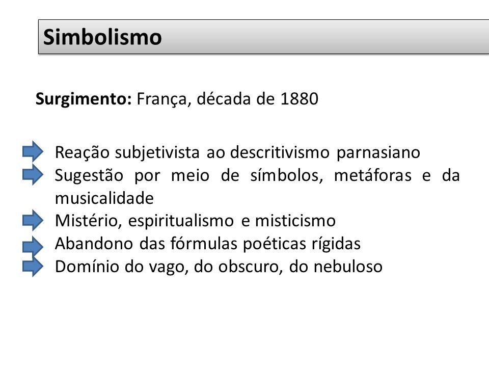 Simbolismo Surgimento: França, década de 1880 Reação subjetivista ao descritivismo parnasiano Sugestão por meio de símbolos, metáforas e da musicalida