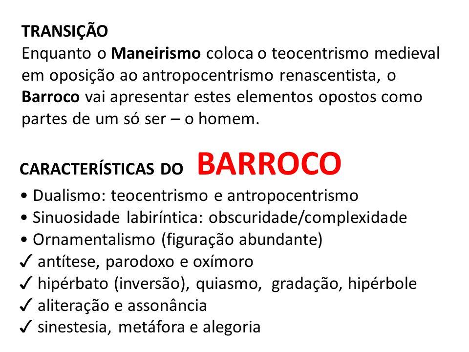 TRANSIÇÃO Enquanto o Maneirismo coloca o teocentrismo medieval em oposição ao antropocentrismo renascentista, o Barroco vai apresentar estes elementos