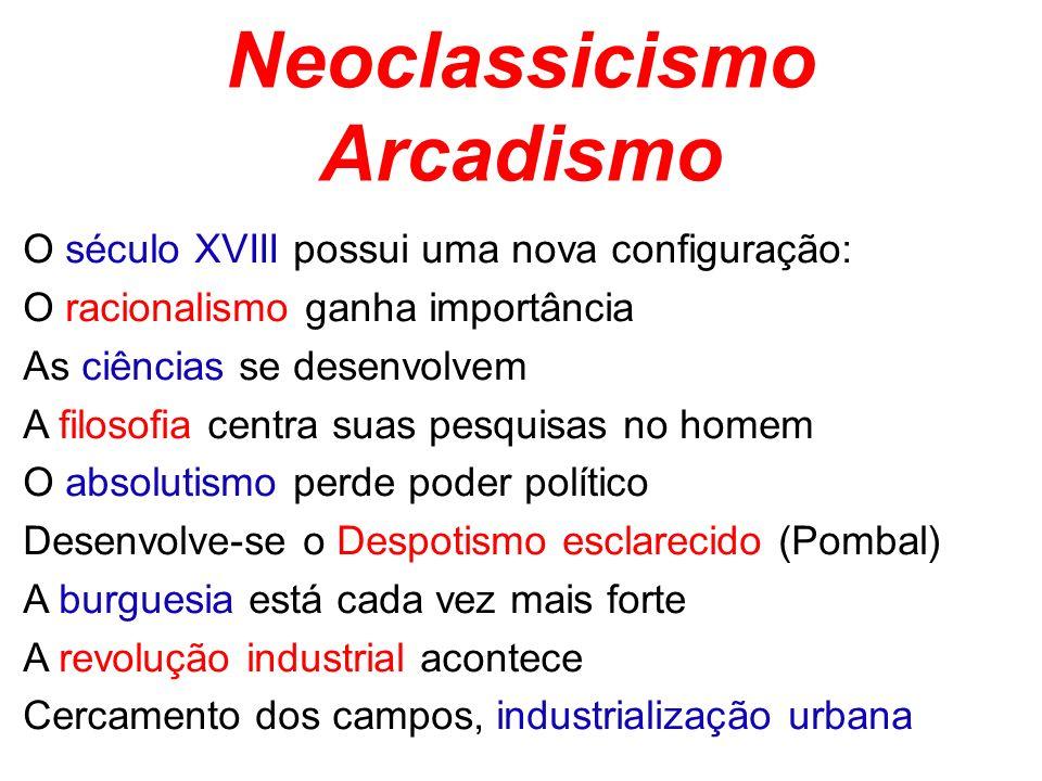 Neoclassicismo Arcadismo O século XVIII possui uma nova configuração: O racionalismo ganha importância As ciências se desenvolvem A filosofia centra s