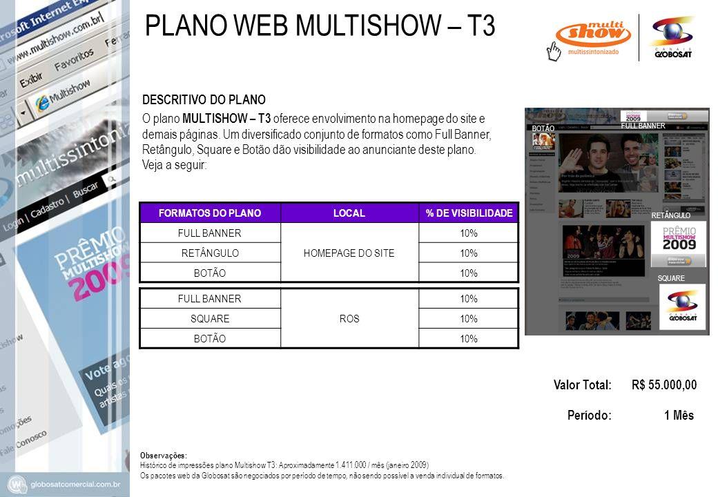DESCRITIVO DO PLANO Valor Total: R$ 55.000,00 Período: 1 Mês O plano MULTISHOW – T3 oferece envolvimento na homepage do site e demais páginas. Um dive