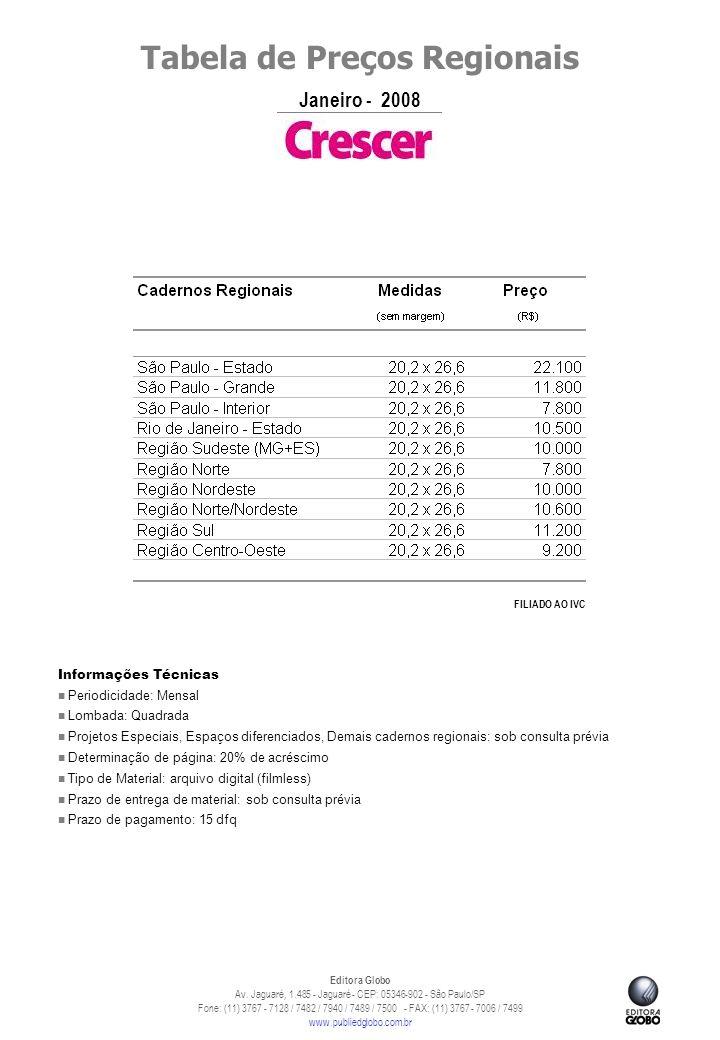 Tabela de Preços Regionais Janeiro - 2008 Editora Globo Av.