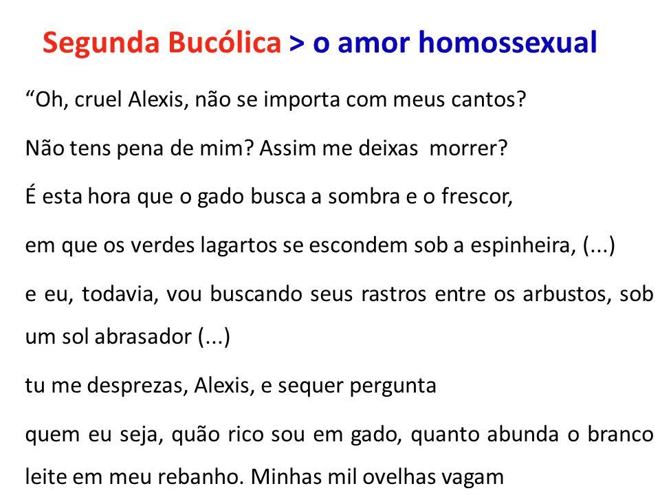 Segunda Bucólica > o amor homossexual Oh, cruel Alexis, não se importa com meus cantos? Não tens pena de mim? Assim me deixas morrer? É esta hora que