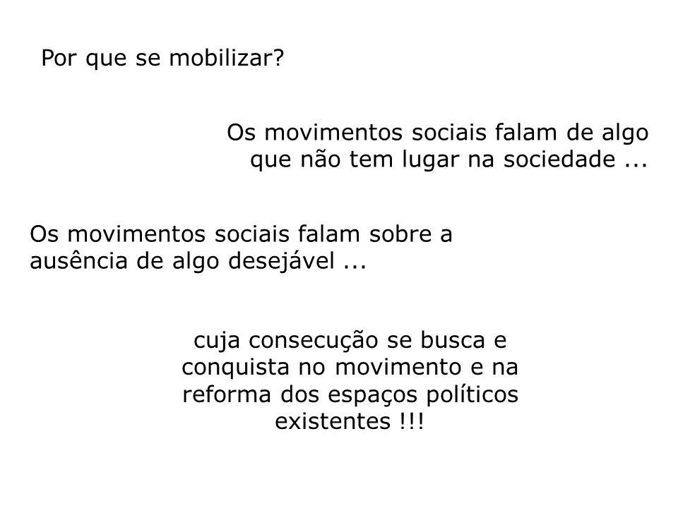 Os movimentos sociais falam de algo que não tem lugar na sociedade... Os movimentos sociais falam sobre a ausência de algo desejável... cuja consecuçã