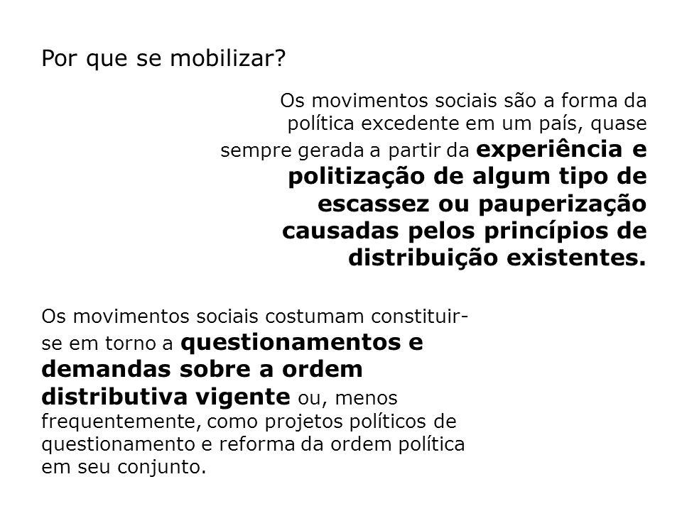 Por que se mobilizar? Os movimentos sociais são a forma da política excedente em um país, quase sempre gerada a partir da experiência e politização de