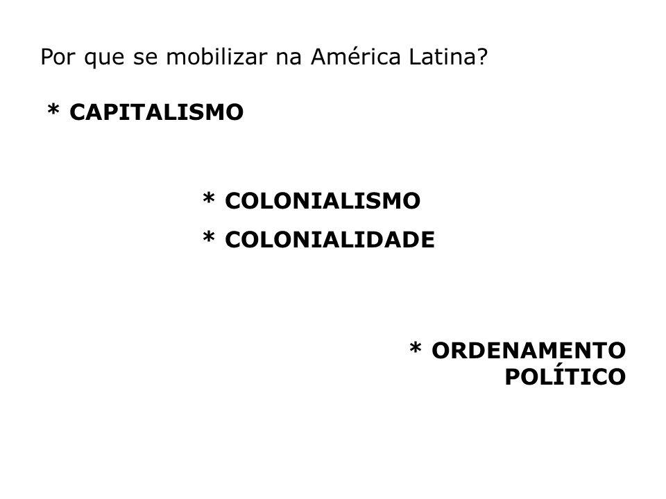 Por que se mobilizar na América Latina? * CAPITALISMO * COLONIALISMO * COLONIALIDADE * ORDENAMENTO POLÍTICO