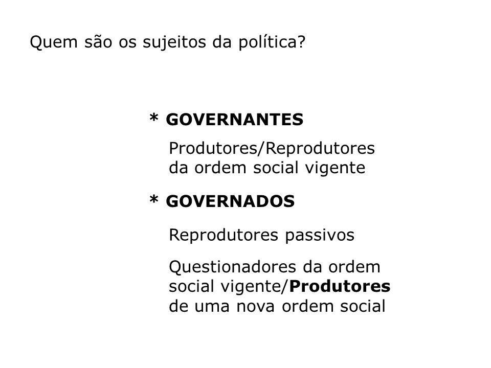 Quem são os sujeitos da política? * GOVERNANTES * GOVERNADOS Produtores/Reprodutores da ordem social vigente Reprodutores passivos Questionadores da o