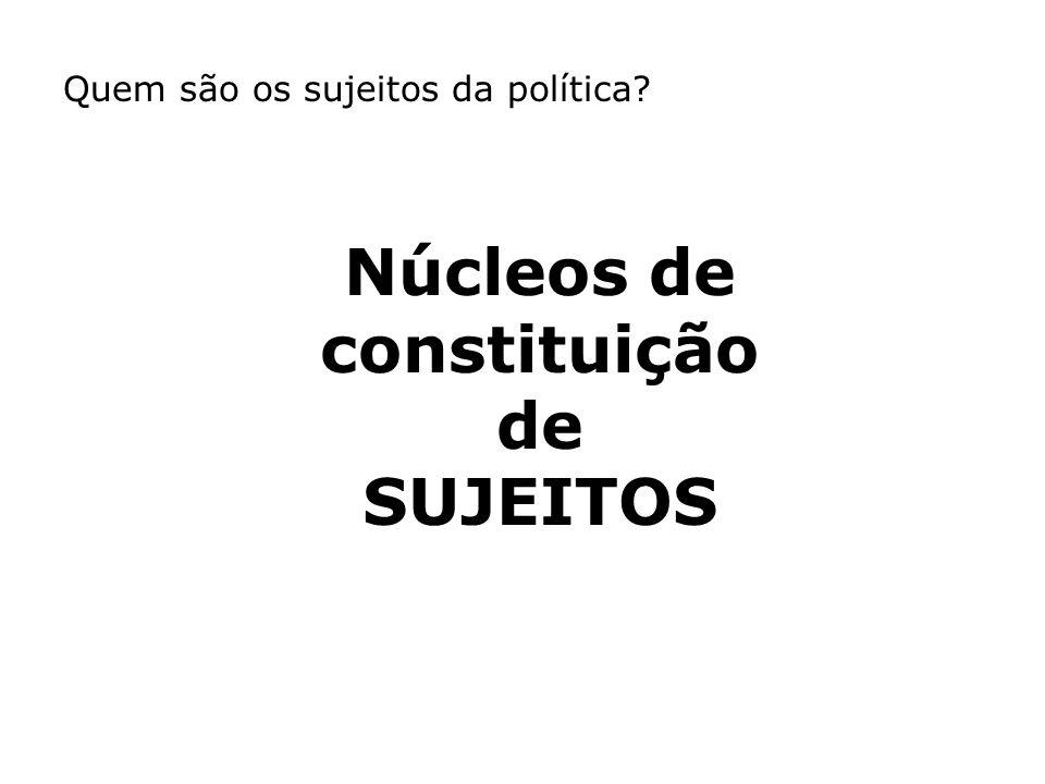 Quem são os sujeitos da política? Núcleos de constituição de SUJEITOS