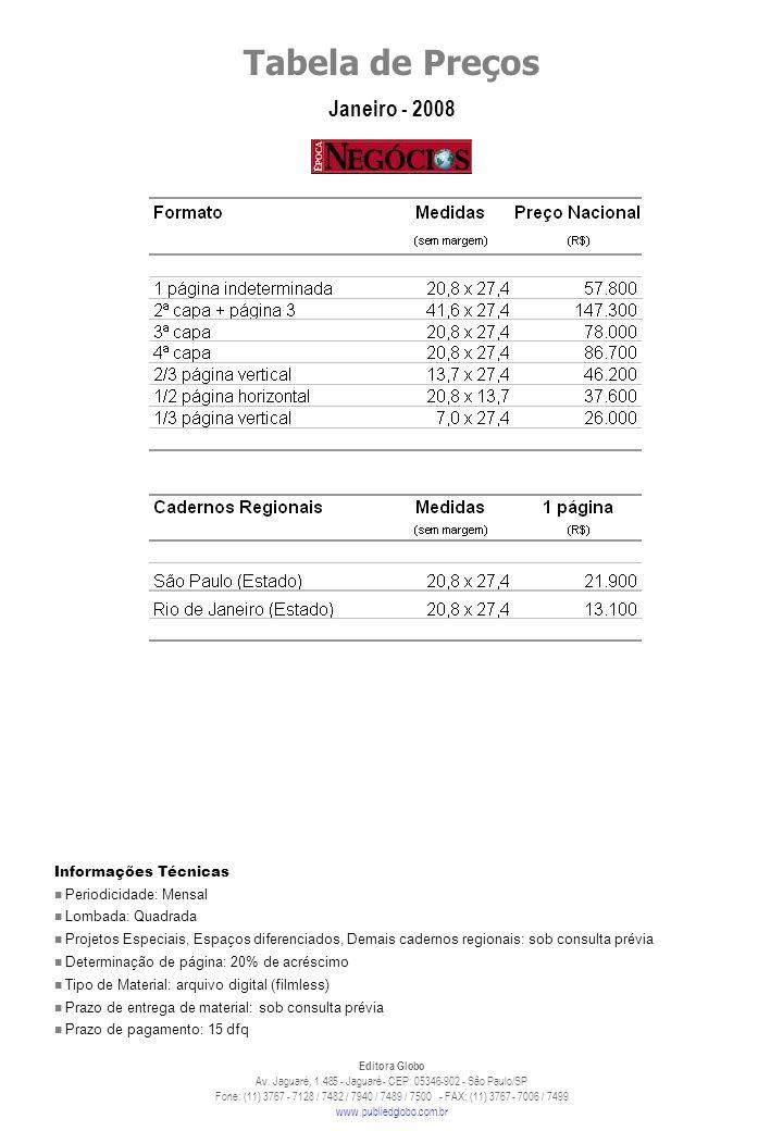 Tabela de Preços Janeiro - 2008 Editora Globo Av.