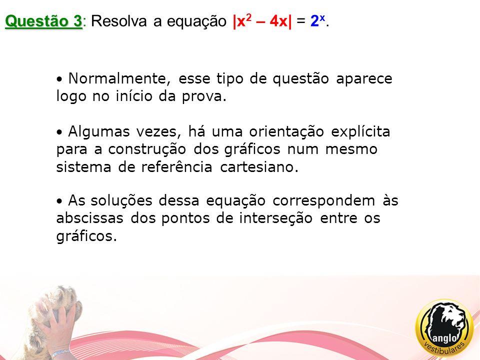Questão 3 Questão 3: Resolva a equação |x 2 – 4x| = 2 x. Normalmente, esse tipo de questão aparece logo no início da prova. Algumas vezes, há uma orie