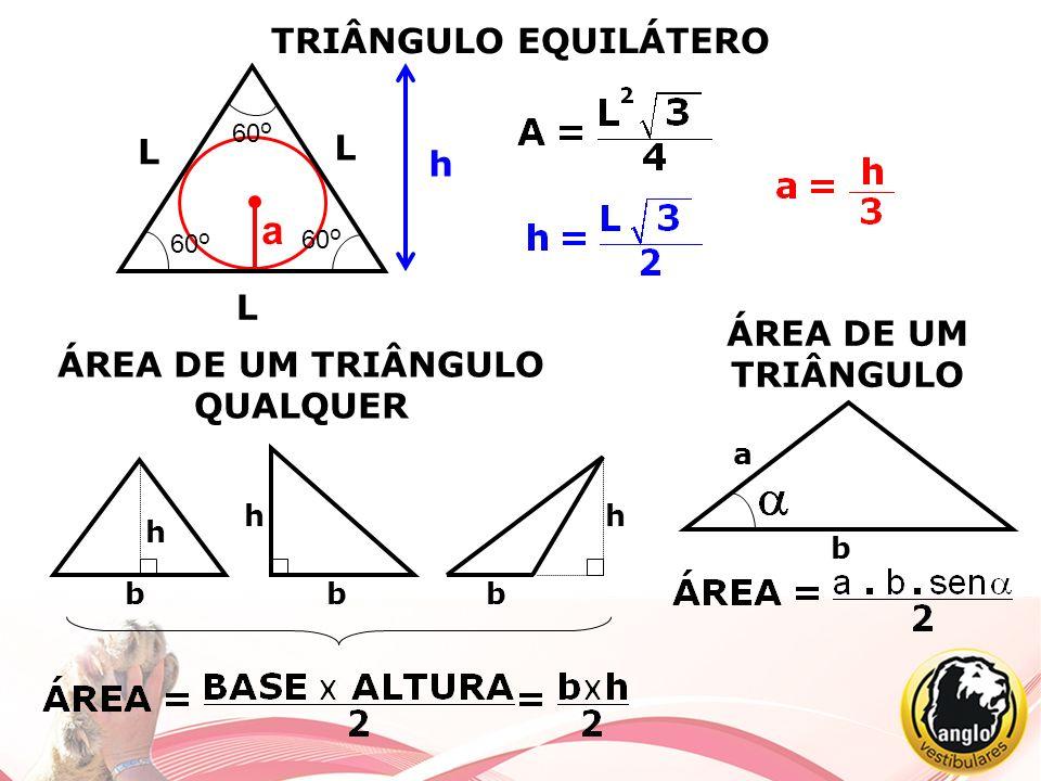TRIÂNGULO EQUILÁTERO L L L 60 o h ÁREA DE UM TRIÂNGULO QUALQUER b h bb b a h h a ÁREA DE UM TRIÂNGULO