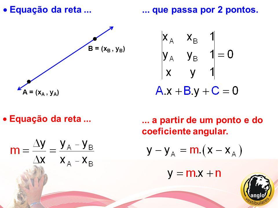 Equação da reta... A = (x A, y A ) B = (x B, y B )... que passa por 2 pontos. Equação da reta...... a partir de um ponto e do coeficiente angular.