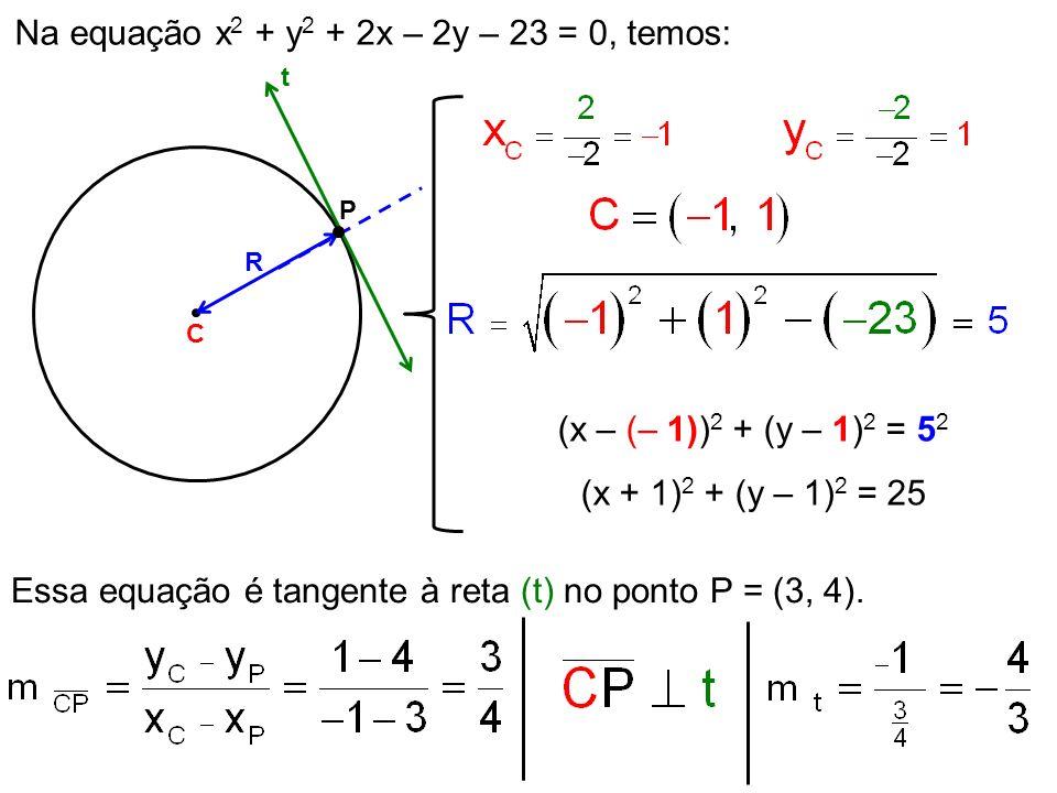 Na equação x 2 + y 2 + 2x – 2y – 23 = 0, temos: C R (x – (– 1)) 2 + (y – 1) 2 = 5 2 (x + 1) 2 + (y – 1) 2 = 25 Essa equação é tangente à reta (t) no p