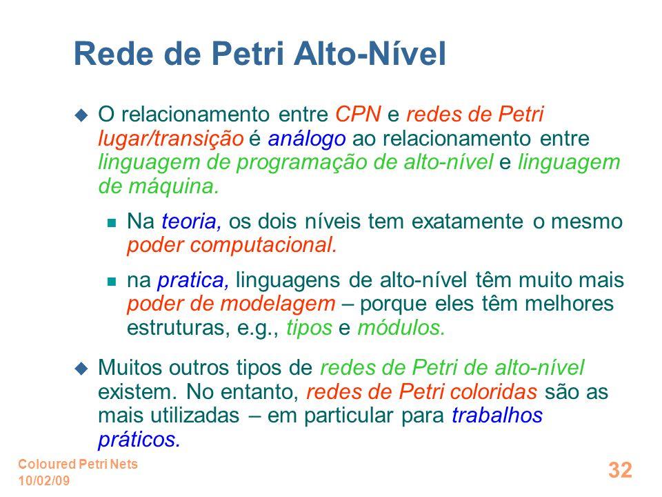 10/02/09 Coloured Petri Nets 32 Rede de Petri Alto-Nível O relacionamento entre CPN e redes de Petri lugar/transição é análogo ao relacionamento entre