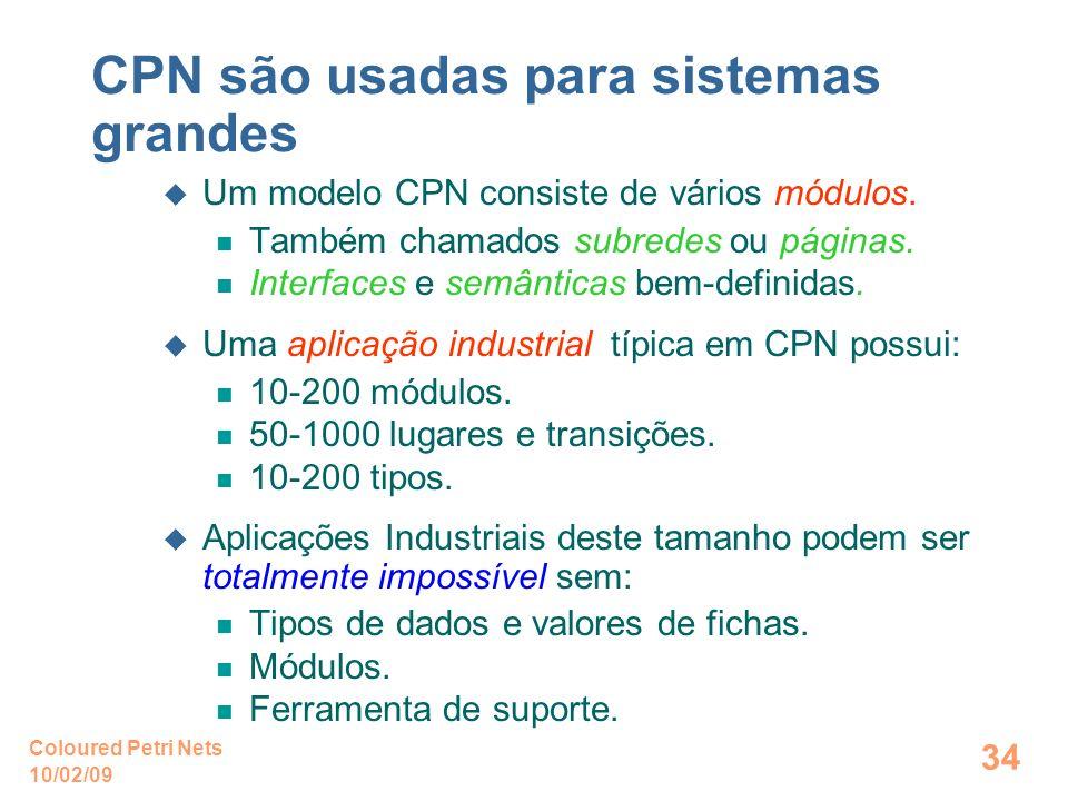10/02/09 Coloured Petri Nets 34 CPN são usadas para sistemas grandes Um modelo CPN consiste de vários módulos. Também chamados subredes ou páginas. In