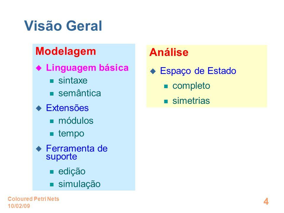 10/02/09 Coloured Petri Nets 4 Visão Geral Modelagem Linguagem básica sintaxe semântica Extensões módulos tempo Ferramenta de suporte edição simulação