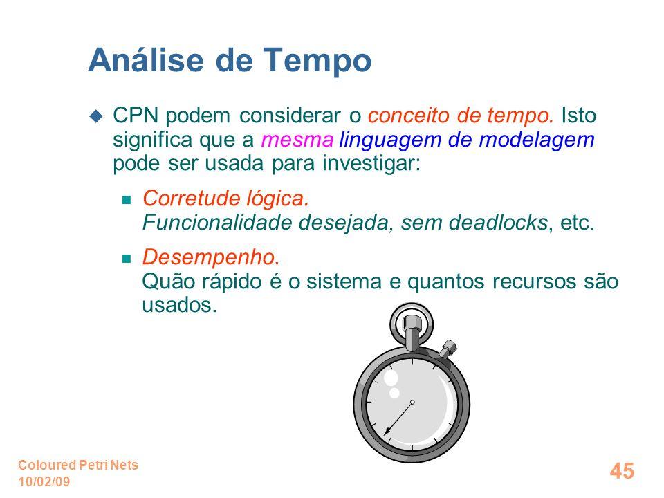 10/02/09 Coloured Petri Nets 45 Análise de Tempo CPN podem considerar o conceito de tempo. Isto significa que a mesma linguagem de modelagem pode ser