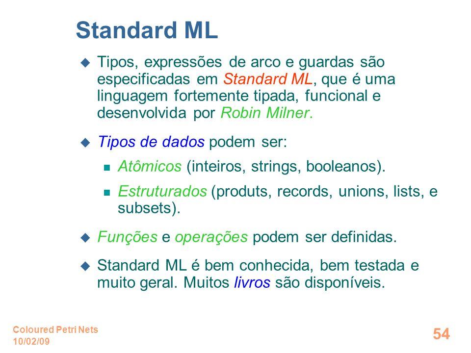 10/02/09 Coloured Petri Nets 54 Standard ML Tipos, expressões de arco e guardas são especificadas em Standard ML, que é uma linguagem fortemente tipad