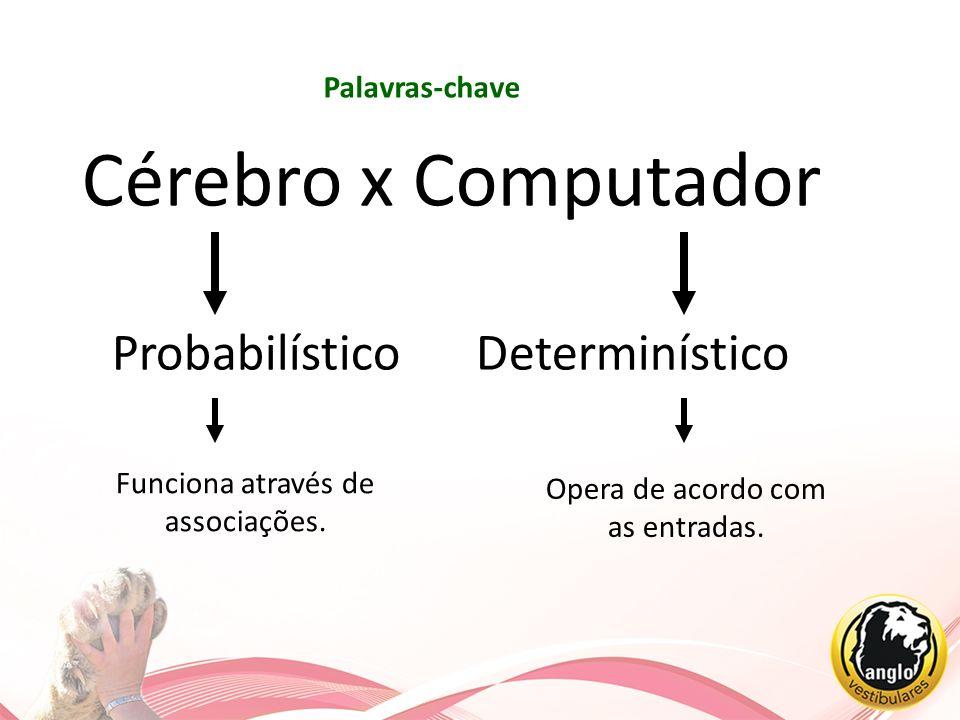 Opera de acordo com as entradas. Palavras-chave Cérebro x Computador Probabilístico Determinístico Funciona através de associações.