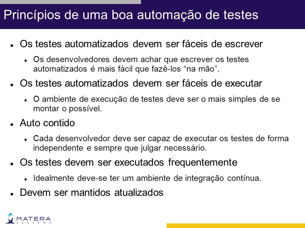 Princípios de uma boa automação de testes Os testes automatizados devem ser fáceis de escrever Os desenvolvedores devem achar que escrever os testes automatizados é mais fácil que fazê-los na mão.