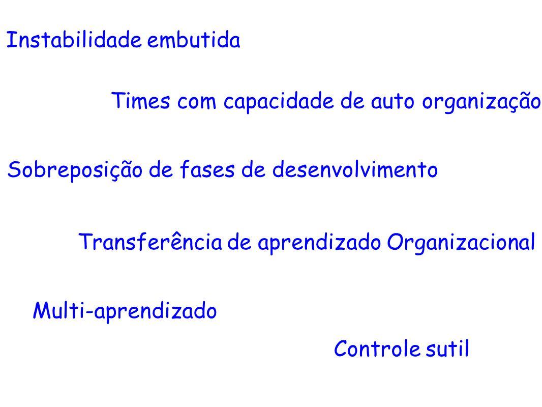 Transferência de aprendizado Organizacional Controle sutil Multi-aprendizado Sobreposição de fases de desenvolvimento Times com capacidade de auto org