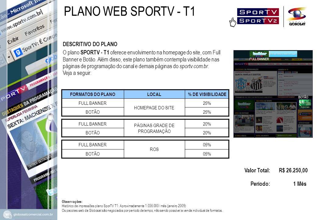 O plano SPORTV - T1 oferece envolvimento na homepage do site, com Full Banner e Botão. Além disso, este plano também contempla visibilidade nas página