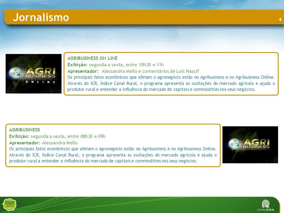 4 AGRIBUSINESS ON LINE Exibição: segunda a sexta, entre 10h30 e 11h Apresentador: Alessandra Mello e comentários de Luís Nassif Os principais fatos econômicos que afetam o agronegócio estão no Agribusiness e no Agribusiness Online.
