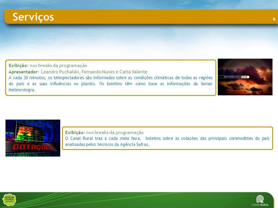 6 Exibição: nos breaks da programação O Canal Rural traz a cada meia hora, boletins sobre as cotações das principais commodities do país analisadas pelos técnicos da Agência Safras.