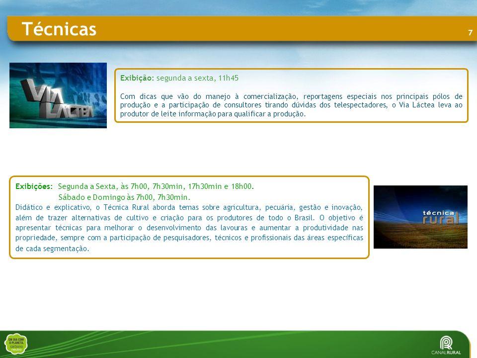 8 Exibições: segunda a sexta, entre 14h e 14h30 sábado e domingo, entre 06h e 07h Programa de clipes e shows que apresenta, simultaneamente, artistas consagrados e novos cantores do regionalismo brasileiro.