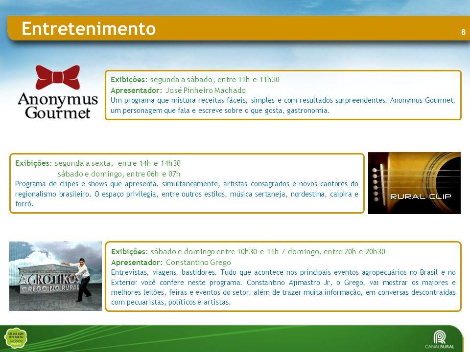 9 Entretenimento CORAÇÃO DE PESCADOR Exibições: domingo, entre 08h e 08h30 Apresentador: Fernando Faria, Epitacío Marques e Joel Datena.