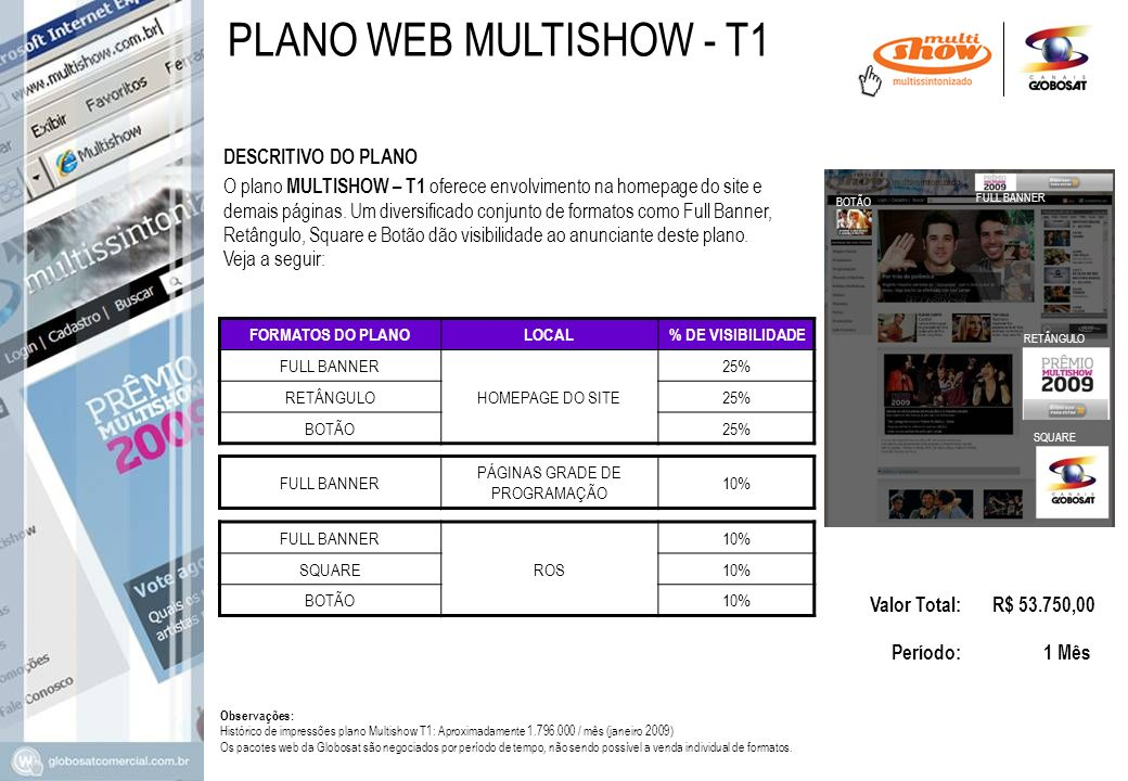 DESCRITIVO DO PLANO Valor Total: R$ 53.750,00 Período: 1 Mês O plano MULTISHOW – T1 oferece envolvimento na homepage do site e demais páginas.