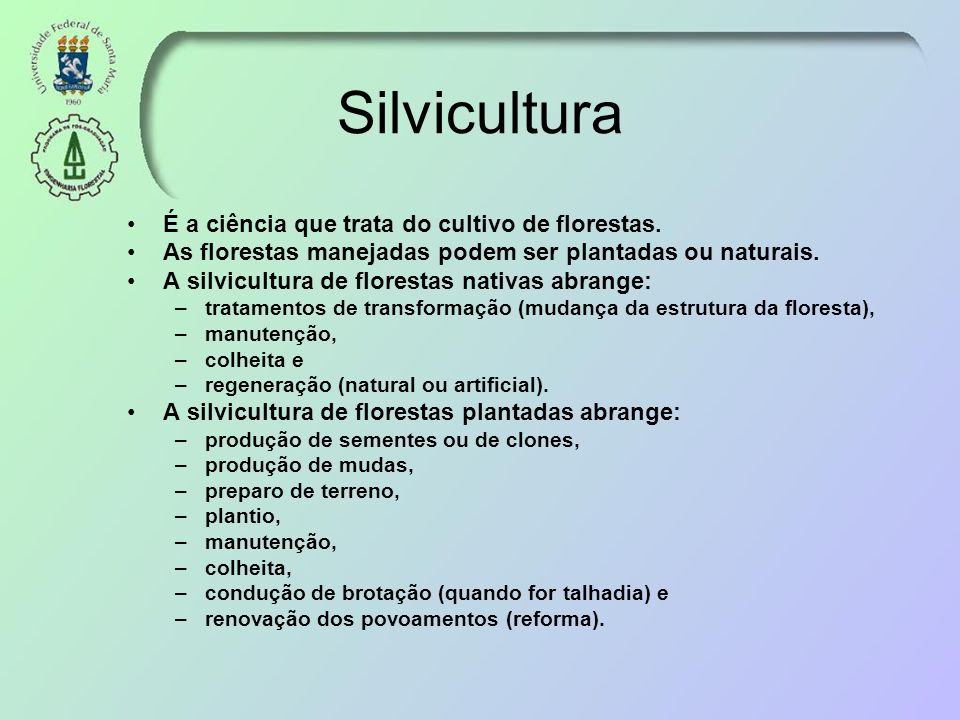 Silvicultura É a ciência que trata do cultivo de florestas. As florestas manejadas podem ser plantadas ou naturais. A silvicultura de florestas nativa