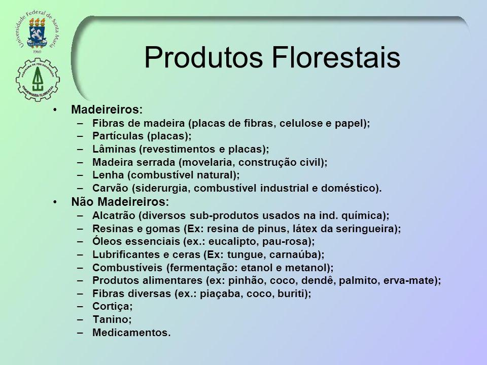 Produtos Florestais Madeireiros: –Fibras de madeira (placas de fibras, celulose e papel); –Partículas (placas); –Lâminas (revestimentos e placas); –Ma