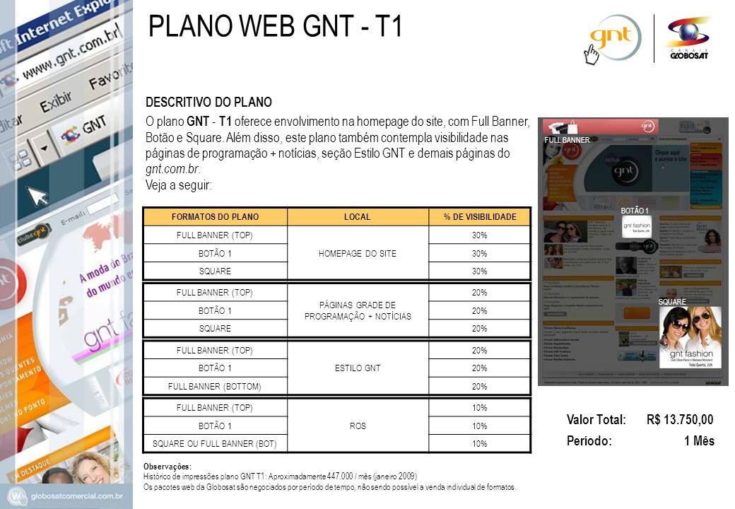 DESCRITIVO DO PLANO Valor Total: R$ 13.750,00 Período: 1 Mês O plano GNT - T1 oferece envolvimento na homepage do site, com Full Banner, Botão e Squar