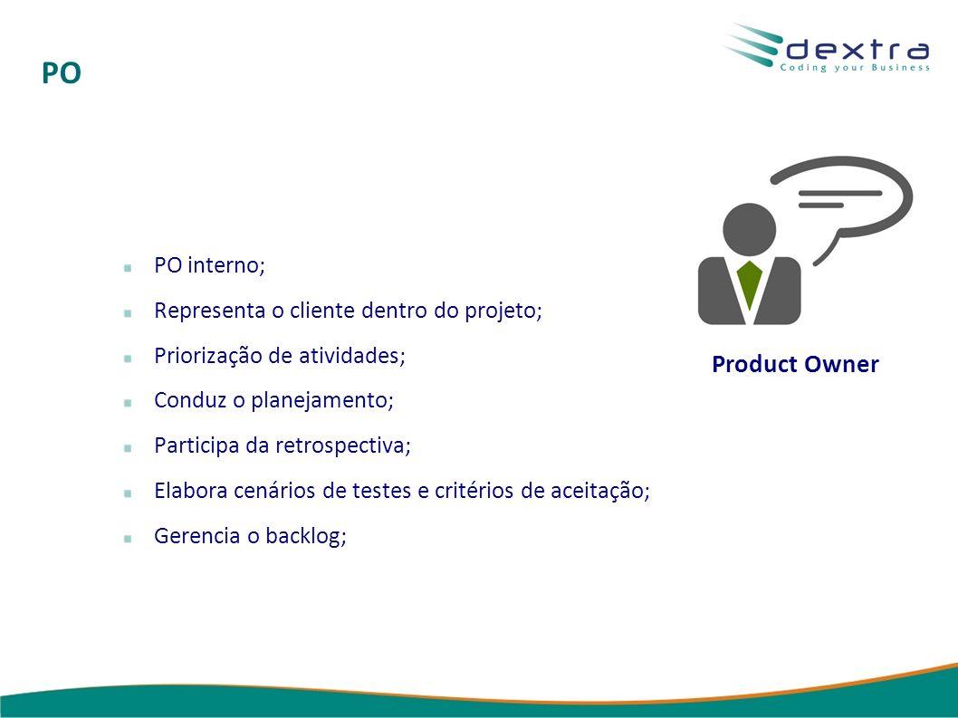 PO Product Owner PO interno; Representa o cliente dentro do projeto; Priorização de atividades; Conduz o planejamento; Participa da retrospectiva; Elabora cenários de testes e critérios de aceitação; Gerencia o backlog;