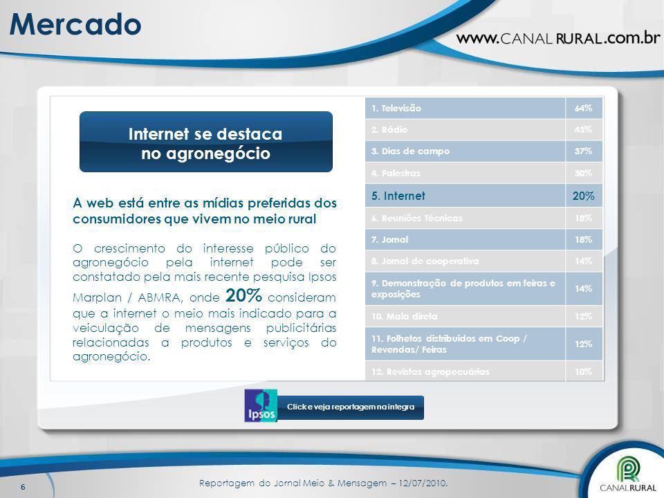 6 Mercado A web está entre as mídias preferidas dos consumidores que vivem no meio rural O crescimento do interesse público do agronegócio pela intern