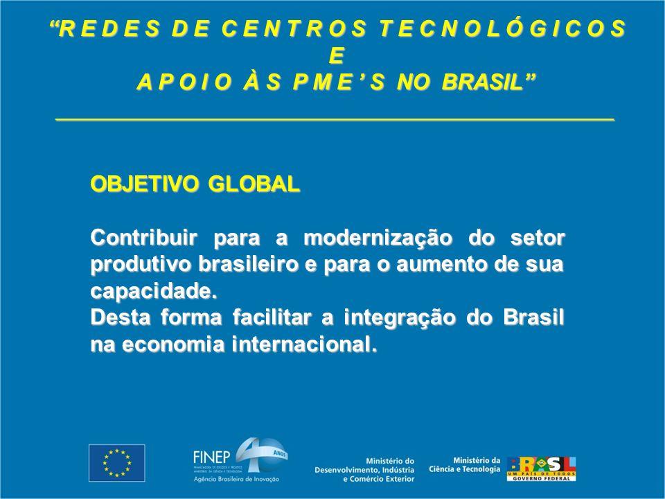 R E D E S D E C E N T R O S T E C N O L Ó G I C O S E A P O I O À S P M E S NO BRASIL _____________________________________________ OBJETIVO GLOBAL Contribuir para a modernização do setor produtivo brasileiro e para o aumento de sua capacidade.