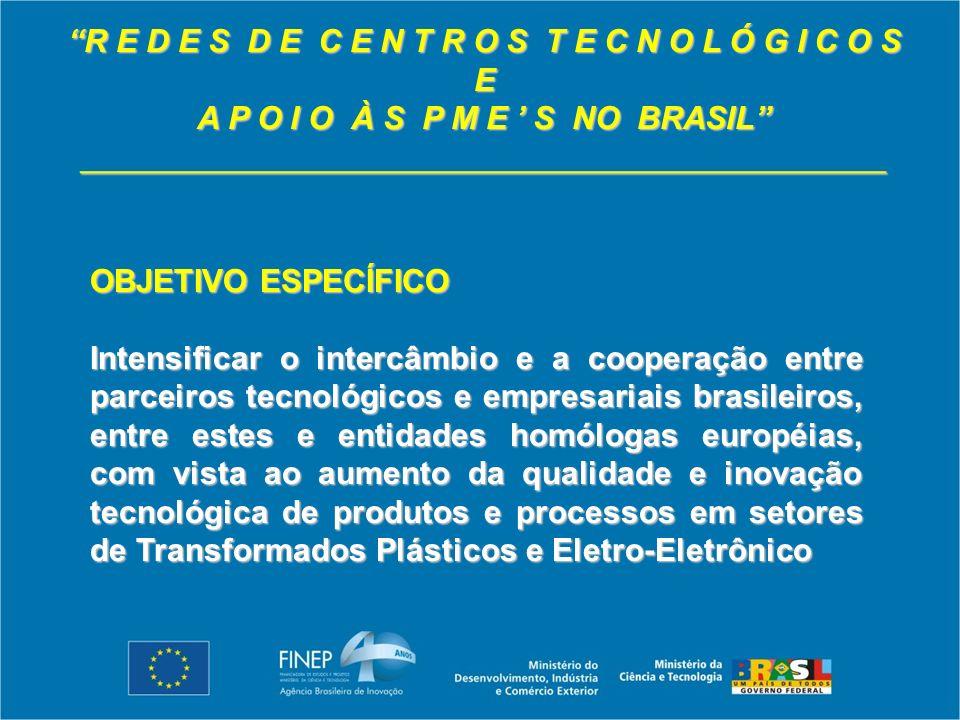 R E D E S D E C E N T R O S T E C N O L Ó G I C O S E A P O I O À S P M E S NO BRASIL _____________________________________________ OBJETIVO ESPECÍFICO Intensificar o intercâmbio e a cooperação entre parceiros tecnológicos e empresariais brasileiros, entre estes e entidades homólogas européias, com vista ao aumento da qualidade e inovação tecnológica de produtos e processos em setores de Transformados Plásticos e Eletro-Eletrônico