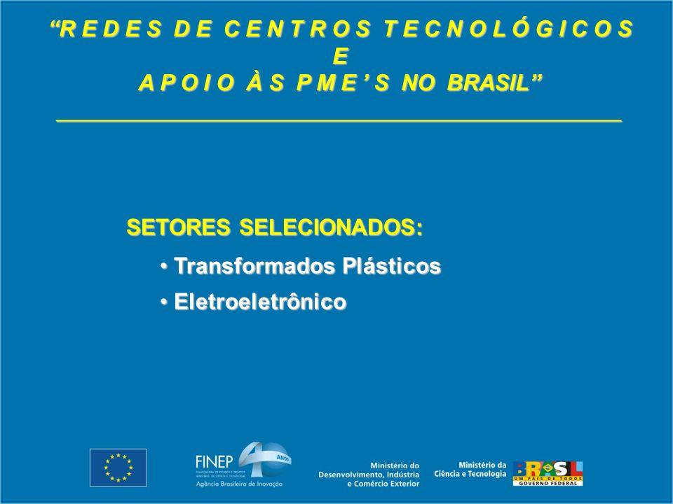 R E D E S D E C E N T R O S T E C N O L Ó G I C O S E A P O I O À S P M E S NO BRASIL _____________________________________________ SETORES SELECIONADOS: Transformados Plásticos Transformados Plásticos Eletroeletrônico Eletroeletrônico