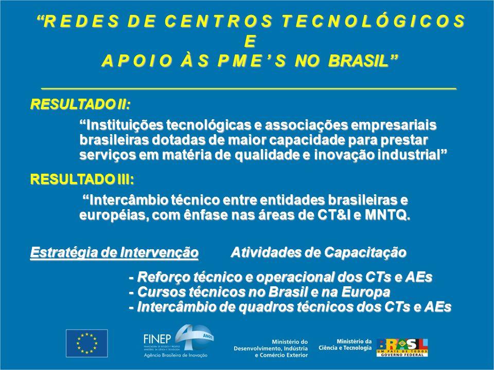 R E D E S D E C E N T R O S T E C N O L Ó G I C O S E A P O I O À S P M E S NO BRASIL _____________________________________________ RESULTADO II: Instituições tecnológicas e associações empresariais brasileiras dotadas de maior capacidade para prestar serviços em matéria de qualidade e inovação industrial RESULTADO III: Intercâmbio técnico entre entidades brasileiras e européias, com ênfase nas áreas de CT&I e MNTQ.