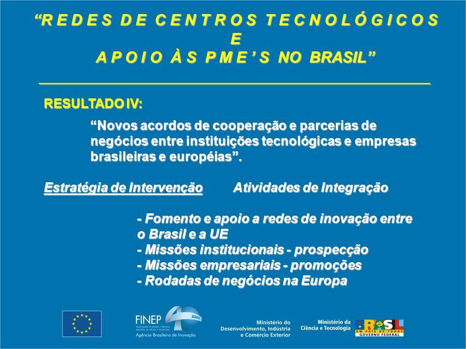 R E D E S D E C E N T R O S T E C N O L Ó G I C O S E A P O I O À S P M E S NO BRASIL _____________________________________________ RESULTADO IV: Novos acordos de cooperação e parcerias de negócios entre instituições tecnológicas e empresas brasileiras e européias.