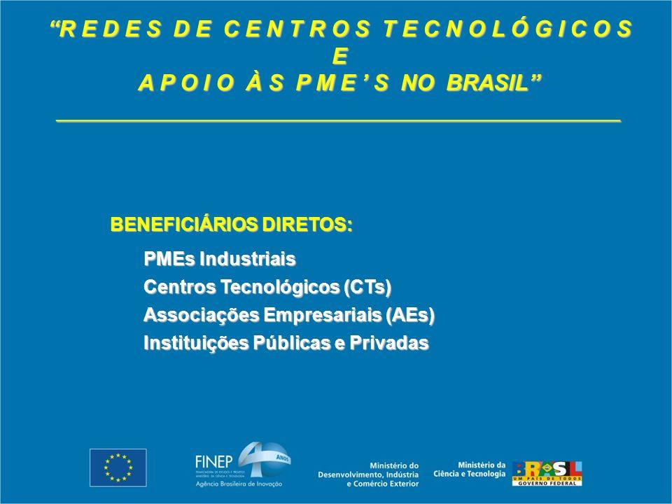 R E D E S D E C E N T R O S T E C N O L Ó G I C O S E A P O I O À S P M E S NO BRASIL _____________________________________________ BENEFICIÁRIOS DIRETOS: PMEs Industriais Centros Tecnológicos (CTs) Associações Empresariais (AEs) Instituições Públicas e Privadas
