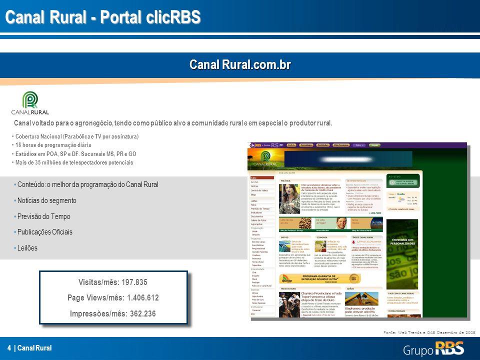 4 | Canal Rural Canal Rural - Portal clicRBS Cobertura Nacional (Parabólica e TV por assinatura) 18 horas de programação diária Estúdios em POA, SP e
