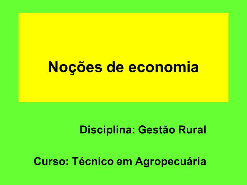 Noções de economia Disciplina: Gestão Rural Curso: Técnico em Agropecuária