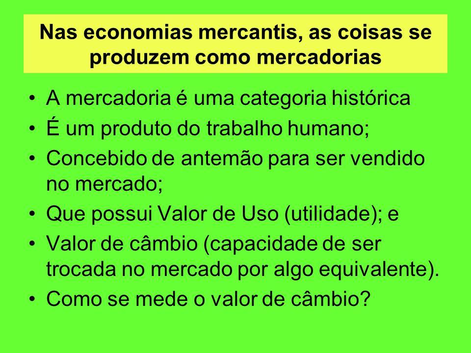 Nas economias mercantis, as coisas se produzem como mercadorias A mercadoria é uma categoria histórica É um produto do trabalho humano; Concebido de a