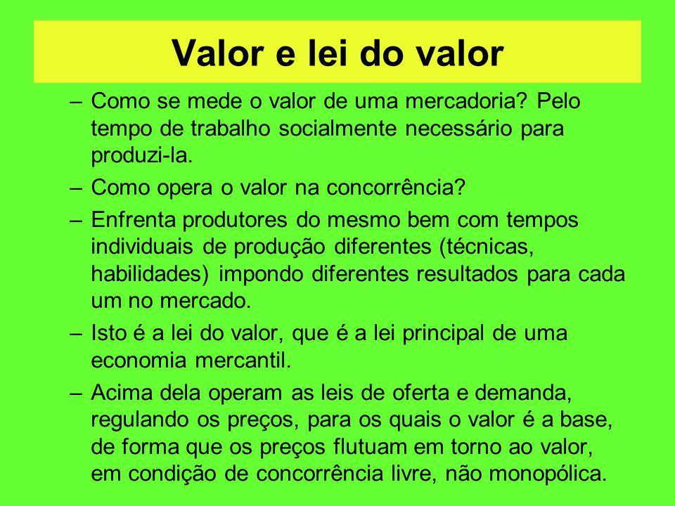 Valor e lei do valor –Como se mede o valor de uma mercadoria? Pelo tempo de trabalho socialmente necessário para produzi-la. –Como opera o valor na co