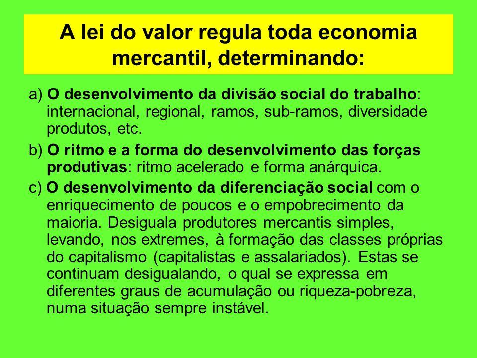 A lei do valor regula toda economia mercantil, determinando: a) O desenvolvimento da divisão social do trabalho: internacional, regional, ramos, sub-r